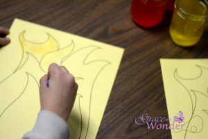 Painting Flames for Elijah on Mt. Carmel Story