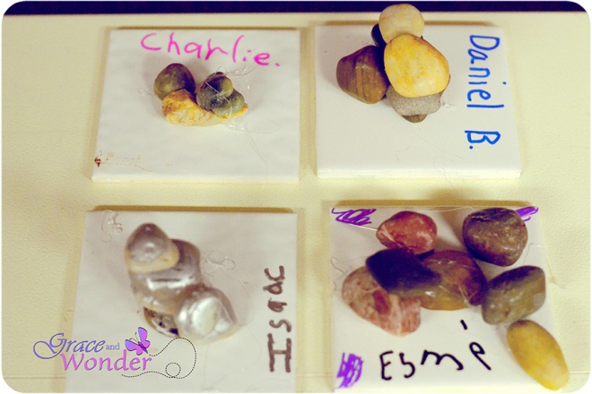Sample stone memorials created by Kindergarted-2nd graders in response to Joshua story, Crossing the Jordan River