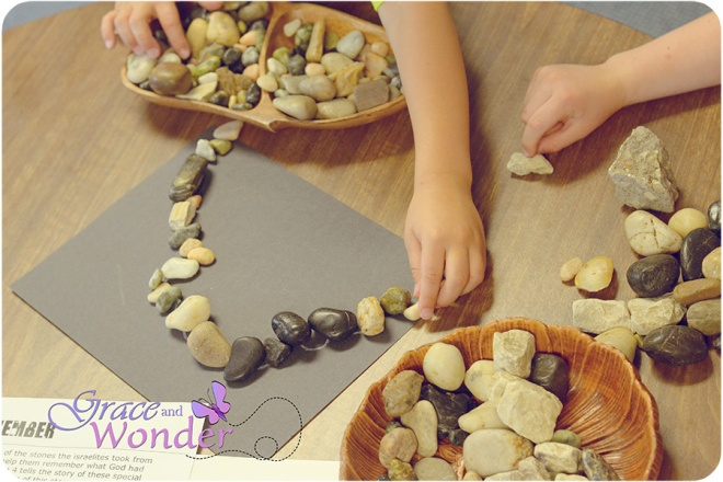 "Exploring Joshua 4 through loose parts play ""building a stone memorial"""