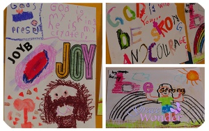 "Sample work from k-5th grade children asked to respond to Joshua 1:9 ""Be strong and courageous..."""