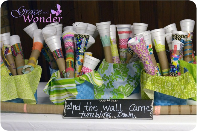 Washi Tape Trumpets on Display as part of VBS Documentation Display Gallery