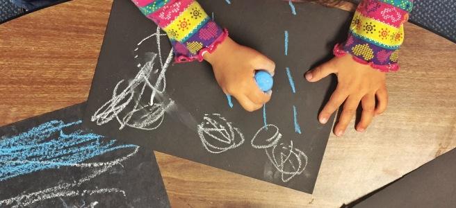 Jesus calms the storm open ended art response. Chalk on Black Paper